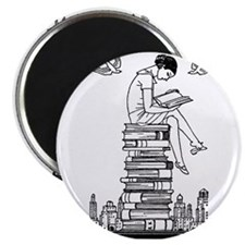 "Reading Girl atop books 2.25"" Magnet (10 pack)"