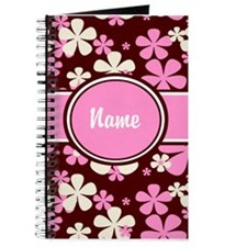 Pink Brown Floral Personalized Journal