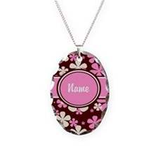 Pink Brown Floral Personalized Necklace