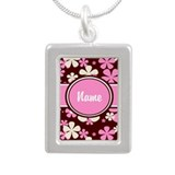 Pink and Brown Personalized Silver Portrait Neckla