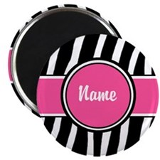 Pink Zebra Print Personalized Magnet