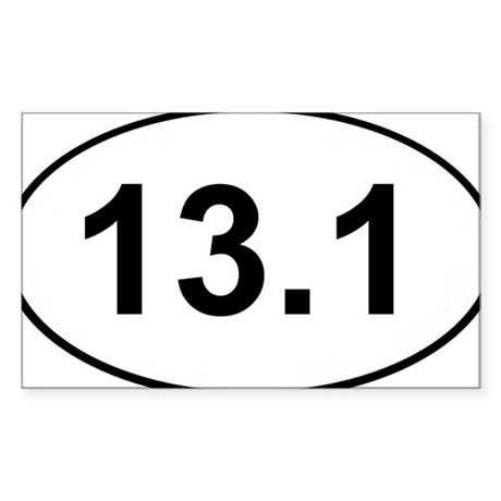 Half Marathon 13.1 White Oval Sticker Sticker