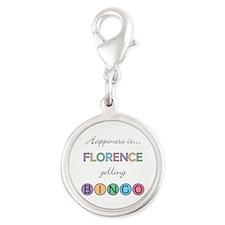 Florence Yelling BINGO Silver Round Charm