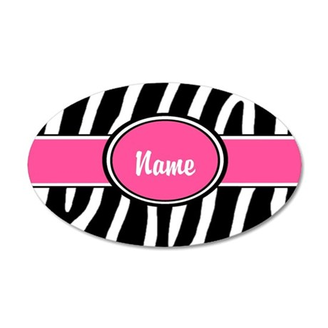 Pink Zebra Personalized 20x12 Oval Wall Decal