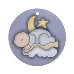 Moon and Star Baby Ornament (Round)