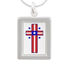 American Cross Silver Portrait Necklace
