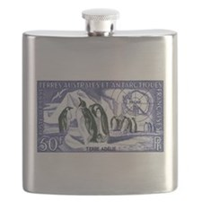 1956 French Antarctic Adelie Penguins Stamp Flask
