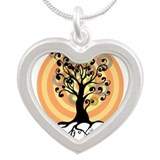 curly tree Silver Heart Necklace
