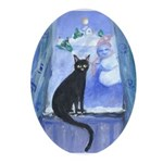 blk cat snowman Oval Ornament