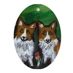 Corgi pair Oval Ornament
