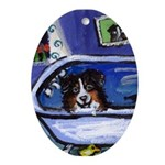 Australian shepherd bath Oval Ornament