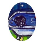 BLACK LABRADOR bath Oval Ornament
