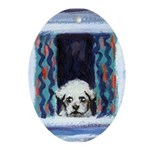 Maltese puppy Oval Ornament