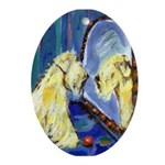 wheaten mirror image Oval Ornament