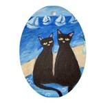 Blk cats sailboats Oval Ornament
