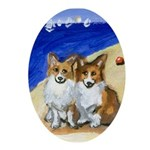 CORGI Beach Oval Ornament