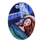 Siamese Cat w sleeping redhead Oval Ornament
