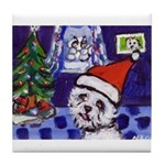 Westie snowmen Tile Coaster