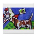 basset snowmen Tile Coaster