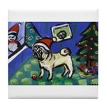 Pug snowman Tile Coaster