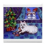 Eskie xmas mischief snowman dance Tile Coaster