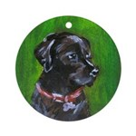 Blk lab Ornament (Round)