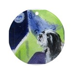 Bearded Collie moon Ornament (Round)