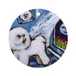 Bichon Frise cs moon Ornament (Round)