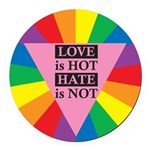 LIHH-LOVE-is-Hot-HATE-is-No.png Round Car Magnet