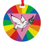 R-Dove-Rainbow-Dove.png Round Ornament