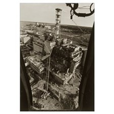 Aerial view of Chernobyl soon after the accident