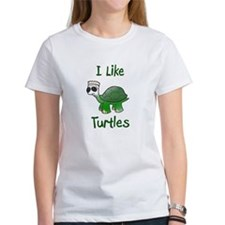 Funny I like turtles Tee