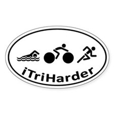 iTriHarder triathlon motto Decal