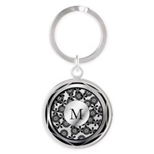 Ornate patterned monogram silver and black print R