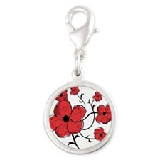 Modern Red and Black Floral Design Silver Round Ch