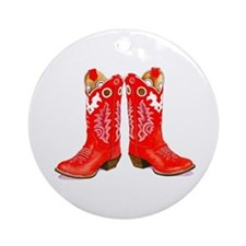 Red Boots Ornament (Round)