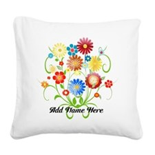 Personalized floral light Square Canvas Pillow
