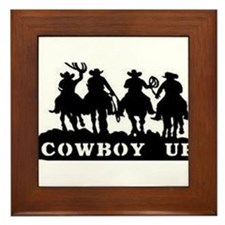 Cowboy Up Framed Tile