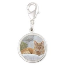 Simba Smiling Silver Round Charm