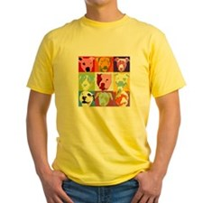 Pop Art Pit Bulls Yellow T-Shirt