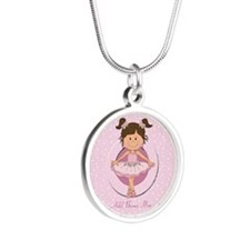 personalized ballet Silver Round Necklace