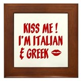 Kiss Me I'm Greek & Italian Framed Tile