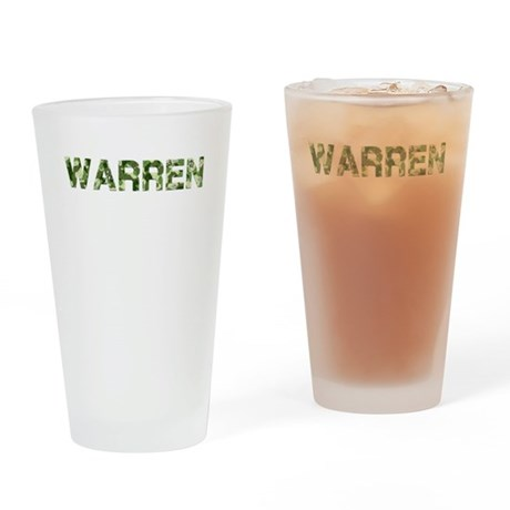 Warren, Vintage Camo, Drinking Glass