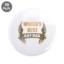 "World's Best Gay Dad (Wings) 3.5"" Button (10 pack)"