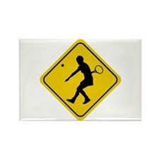 Tennis Crossing Sign (Woman) Rectangle Magnet