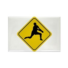 Volleyball Crossing Sign (Man) Rectangle Magnet