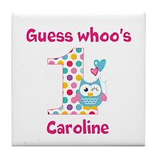 Custom guess whos 1 girl Tile Coaster