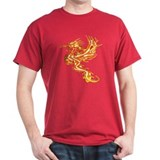 T-Shirt With Flaming Dragon