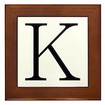 Greek Character Kappa Framed Tile