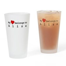 My Heart Belongs To Aliza Drinking Glass